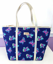 Lilly Pulitzer Tote Butterflies Navy Blue Gold Handbag Purse Limited Edition
