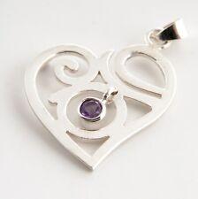 Anhänger Silber 925 Spirituelle Liebe mit Amethyst Stein Herz