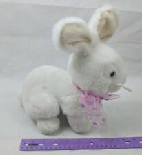 Vintage Applause White Easter Bunny Rabbit Plush W/ Pink Polka Dot Neck Bow