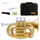 Aklot Bb Mini Pocket Trumpet 7C Silver Plated Mouthpiece Gold Lacquered Brass