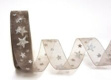 Bertie's Bows Sheer 25mm Christmas Star Ribbon sold on a roll or the metre