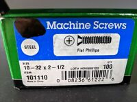 100 Steel Flat Phillips Machine Screws 10 - 32 x 2 1/2""