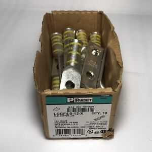 "Panduit LCCF4/0-12-X Yellow Die 2-hole Copper Lug 1/2"" Bolt NEW"