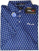 Polo Ralph Lauren RLX Short Sleeve Blue Lizards Shirt Wicking UV Protect $98 New