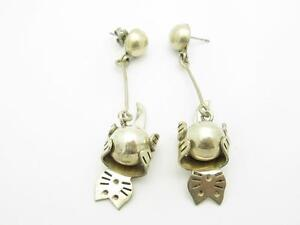 Sterling Silver Vintage Lever Back Bead Cat Design Drop Chandelier Earrings Gift