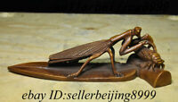 Collect Antique China Natural Boxwood Wood Carving Mantis catches cicada Statue