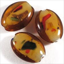 Lot de 4 perles ovales en verre Lampwork Confetti 18x 25mm Topaze