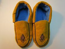 NATIVE AMERICAN MOCCASINS, 10 INCHES WITH DIAMOND DESIGN ON VAMP