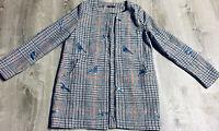 Shein Gray Tweed Blue Bird Long Zip Front Coat Jacket Size Large