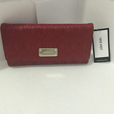 NEW ARRIVAL! NINE WEST DOTTED SHAPES CASSIS RED CHECKBOOK CLUTCH WALLET $39 SALE
