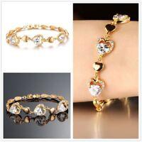 Romantic Women Heart Bracelets Luxury Gold Cubic Zircon Chain Jewelry Bracelet
