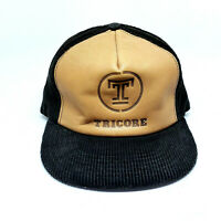 Vintage Trucker Hat Genuine Leather Black Corduroy Snap Back Tricore USA Made