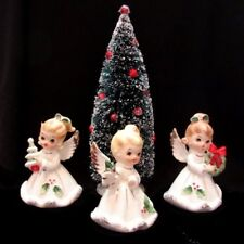 Vintage Josef Originals Christmas Angels with Bottle Brush Tree