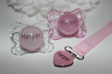 2 x Personalised Pink MAM Dummies & Dummy Clip 0+ Months **CAN BE STERILISED*