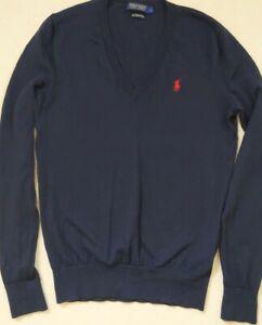 Ralph Lauren Polo Golf Navy V Neck Merino Wool Jumper Size M - L