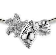 New .925 Sterling Silver Seashell Starfish Slide Pendant