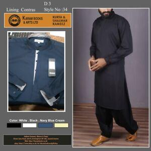 Mens  Shalwar Kameez 4 Colour White Kareem Navi Black Bane