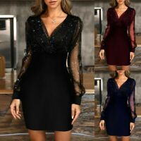 Womens Sexy Mesh Sequin Bodycon V-Neck Ladies Cocktail Evening Party Mini Dress
