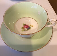 Rosina Bone China Cup & Saucer,England #5029 pale green & white w/roses inside.