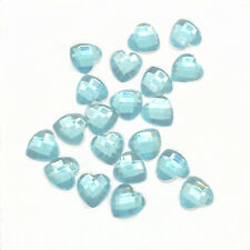 New 100pcs Resin Faceted Heart Crystal 8mm Flatback DIY Phone Craft Light Blue 2