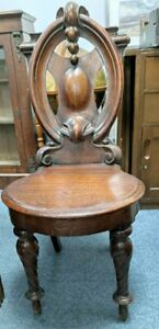 Beautiful Antique Victorian Mahogany Carved Back Hall Chair.