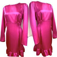 River Island Hot Pink plus Size Silky Satin Long Sleeve Dress Uk Size 26 RRP £38