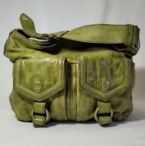 Marc Jacobs Olive Green Leather Shoulder Bag Slouchy Hobo Front Pockets Purse