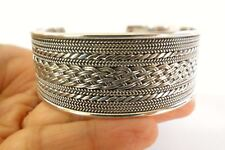 Sterling Silver No Stone 925 Wide Cuff Bangle Bracelet