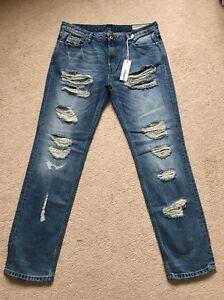 NEW Women's Diesel Rizzo 0846Y Regular Slim Low Destroyed Jeans W33 L32 (1057)