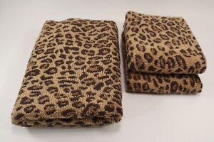 Pottery Barn -Leopard Print -Set of 3 Bath & Hand Towels Cheetah Animal Vintage