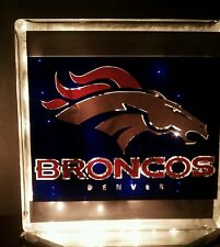 Lighted Denver Broncos Glass Block Light~ Home Decor~Gift~Lamp