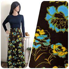 Vintage 60s 70s Dark Brown Crimplene Floral Rose Maxi Skirt Mod Psych 6 34