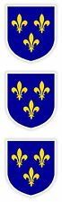 3x Ile de France Stickers Coat of Arms for Bumper Laptop Tablet Helmet Car Suv