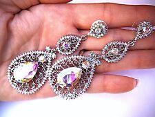Long Ab Cristal Earrings bridal fitness bikini pageant elegant Wedding Bride