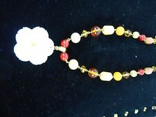 Joan Rivers Shell Flower with Faceted Glass Beads on a Gold Tone chain Necklace