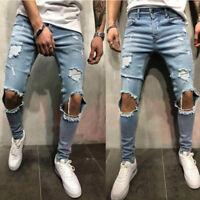 Men Stretchy Ripped Skinny Biker Jeans Destroyed Tapered Slim Fit Denim Pants