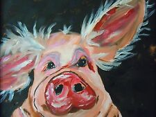 FRAMED ACRYLIC PIG PAINTING ~ INVENTORY# 1315