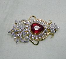 Gold Ruby Diamond Brooch pin 14K Handmade fine jewelry pink 493-42