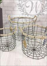 Retro Vintage Industrial Style Metal Storage Baskets Round Set Rope Handles Wire