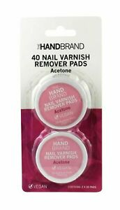 The HandBrand Nail Varnish Remover Pads Twin Pack of 20 Wipes 40 Pads