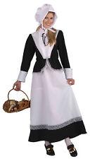 Women Pilgrim Adult Costume Thanksgiving Dress Bonnet Apron Colonial Pioneer
