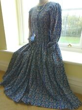 DROOPY & BROWNS VICTORIAN/EDWARDIAN COTTON PRINT DRESS FIT UK 10 SMALL 12