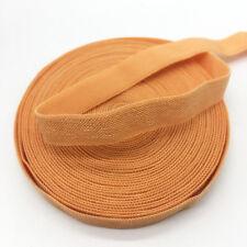 "5yds 3/8"" Solid Fold Over Elastics Spandex Satin Band Lace Sewing Trim Orange"