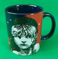 Les Miserables Coffee Mug Tea Cup Blue Ceramic Vintage Excellent Condition