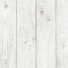 Blanco Artificial Madera Granulada Tablas 8.9cm Ancho Papel Pintado CK36615