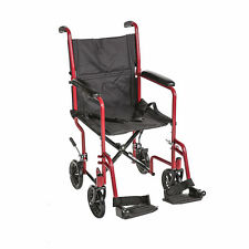 "19"" Lightweight Transport Wheelchair W/swingaway Legrests and Seat Belt  RED"