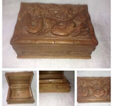 Vintage Asian Hand Carved Wooden Secret Box With Dragon Top