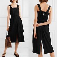 $345 NWT Vince. Belted Linen Blend Midi Dress, Black, US 10