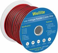 Wellite 2FT 18-2 AWG Gauge Electrical Wire, Low Voltage Red&Black Parallel Wire