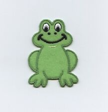 Iron On Embroidered Applique Patch Childrens Green Felt Frog Smiling
